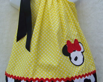 Minnie Mouse Pillowcase Dress / Disney / Red / Cow Print / Cowgirl / Newborn / Infant / Baby / Girl / Toddler / Custom Boutique Clothing