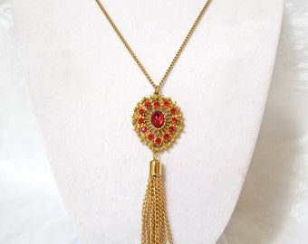 1970's Tassel Necklace, Red Rhinestones, long dangle pendant, gold tone, tassle, Gift Idea, Excellent
