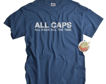 ALL CAPS all rage funny geek t shirt geekery computer shirt for men youth teen video game gifts tshirt gift for gamer husband son
