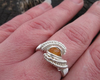 Wire Wrapped Ring - Size 7 Ring - Wire Wrap Garnet - Wire Wrap Ring - Sterling Silver Wire Wrap -Spessartine Ring -Garnet Ring