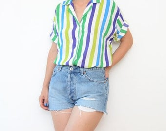 Vintage striped purple green white short sleeve shirt
