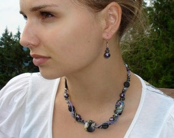 Black Purple Necklace Earrings Beaded Artisan Statement TWISTED SISTER