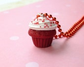 Red Velvet Cupcake W/Sprinkles-Cupcake Necklace-Food Jewelry