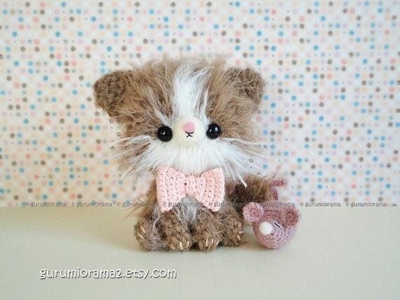 amigurumi cat kawaii crochet kitty tan kitten fuzzy with mini