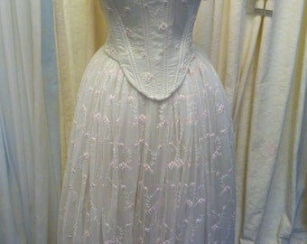 Vintage Look Ethereal Romantic Lace Pink Rose bud lace Tulle Corset & Skirt  ready to ship