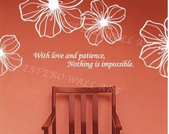 """Removable wall Stickers """"LOVE AND PATIENCE""""(small), Flower Wall Decals,Wall Decals , Nursery wall decal, home decor"""