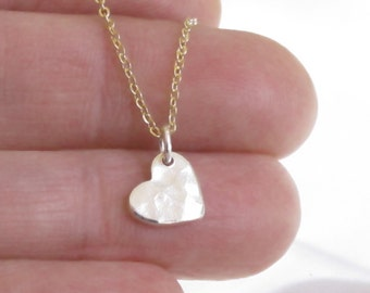 Tiny Silver Heart Necklace Hammered Charm Gold Chain DJStrang Valentine Sweetheart Minimalist Love Mixed Metals