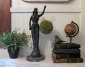 "vintage blindfolded Lady Justice statue. Huge 17.5"" cast metal Themis. Chippy distressed charcoal black. Classic Art Deco Objet d'Art"