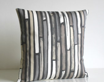 Stripe Pillow Cover, Stripe Cushion Cover, Stripe Pillow Sham, grey, gray, beige, slip, sham, case - Random Stripes Neutral