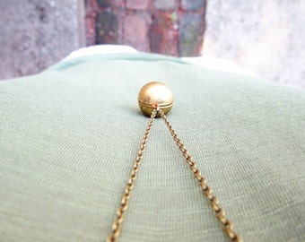 Vintage Brass Ball Locket & Long Bronze Chain Necklace, Gold Locket, Gift Box