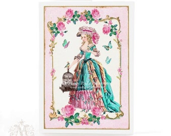 Marie Antoinette, card, vintage style, pink roses, birthday card, French, fashion plate, vintage bird cage, butterflies, aqua, pink
