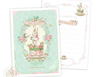 Rabbit invitations, tea party invitations, baby shower invitation, birthday party invitation, shower tea invitations, Easter tea invitations