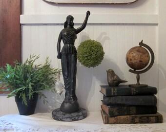 "vintage blindfolded Lady Justice statue. Huge 17.5"" cast metal Themis. Chippy distressed charcoal black. Classic Unique Art Deco Objet d'Art"