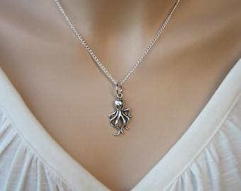Octopus Necklace, Nautical Silver Necklace, Sea Animal Nautical Necklace, Charm Pendant, Silver Charm Necklace, Nautical Pendant - OLLIE