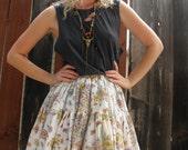 High Waisted Skirt // Boho Clothing // Circle Skirt // Festival Wear // Prairie Skirt // Pastel Grunge // Novelty Print // XS SMALL