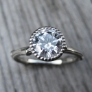 Moissanite Twig Engagement Ring - White, Yellow, or Rose Gold - 1ct - Beaded Bezel