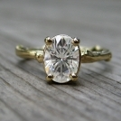 Oval Moissanite Branch Engagement Ring: Yellow, White, Rose Gold - 1.33ct