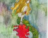 9x12 mermaid watercolor pencil & pen giclee print on canvas paper