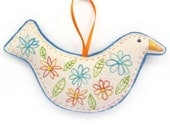 Bird Decoration / Ornament - Flowers and Leaves