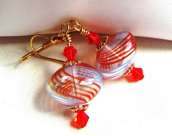 Orange and Blue Blown Glass Hollow Rondelle Bead Dangle Earrings Choice of Finish