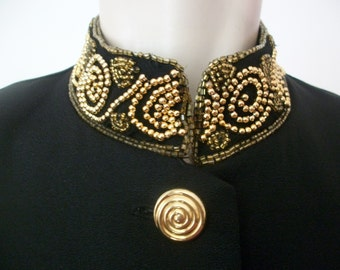 Black Party Jacket GINA BACCONI Gold Bead Collar & Cuffs US10 UK12