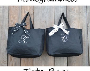 6 Personalized Bridesmaid Gift Tote Bags Monogrammed Tote, Bridesmaids Tote, Personalized Tote