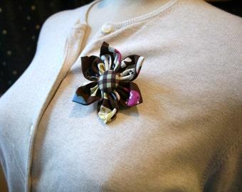 Brown Fabric Flower Brooch, Flower Pin - Handmade Fabric Flower