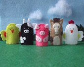 Farm Animals Finger Puppets Set - Chick Cow Pig Horse Rooster - Felt Farm Animals Finger Puppets - Farm Puppet Set - Felt Animal Puppets