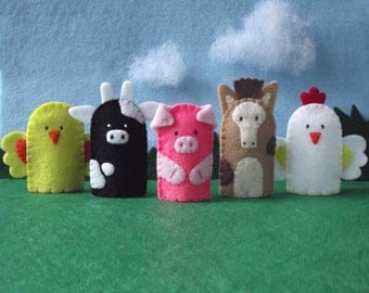 Farm Animals Finger Puppets Set - Chick Cow Pig Horse Rooster - Felt Farm Animals Finger Puppets - Farm Puppet Set - Felt Animal Puppets