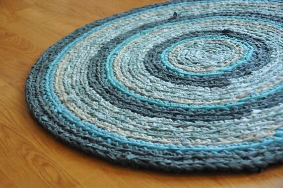 Blue Ocean Rings Crochet Rug Washable Ecofriendly Area Rug