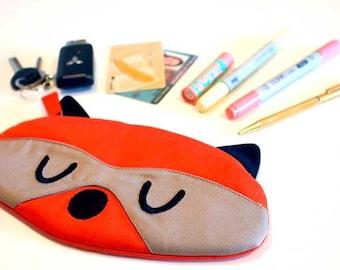 Pencil Pouch, Raccoon Fabric Zip Pouch, RACCOON pouch, Raccoon purse, Pen pouch, Stationery pouch, Back To School, ORANGE Raccoon pouch