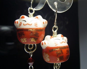Double Happiness Red maneki neko cat earrings id1310569 jewelry jewellery handmade boucles d'oreilles
