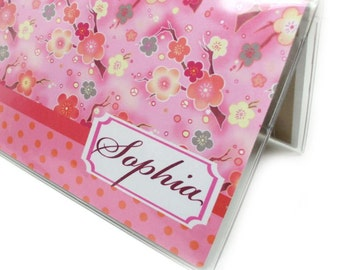 Personalized checkbook cover - Sweet Sakura - pink cherry blossom and polka dots name customized