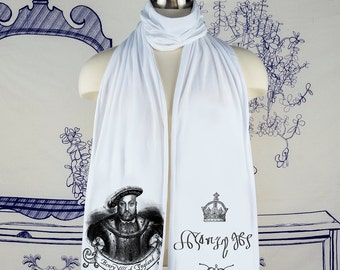 Henry Vlll King of England Screen printed Cotton Scarf