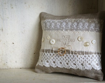 Wedding Ring Bearer Pillow Vintage Style Rustic Natural Irish Linen - Handmade in Ireland