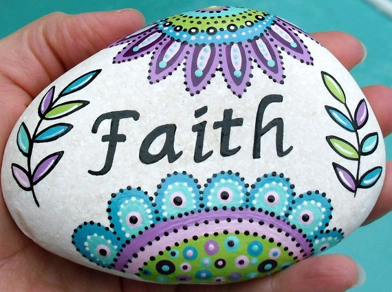 Hand Painted Inspirational Art Flower River Rock Stone Faith