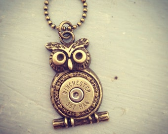 Cute Owl Bullet Necklace- Bullet Jewelry, Owl Necklace