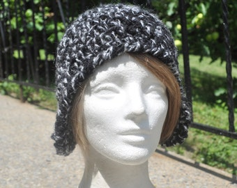 Black and White Wool Women's Earflap Hat (Ear flap hat) Crochet hat