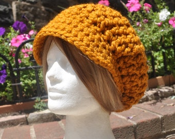 Butterscotch Slouchy Hat, Women's Newsboy Hat, Crocheted Hat, Brimmed Hat in Wool Acrylic Blend - Ready to ship
