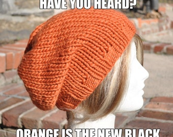 Pumpkin Orange Knit Hat - Wool Ribbed Knit Slouchy Hat - Unisex Slouchy Beanie