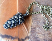 Pine Cone Necklace - large antiqued bronze pine cone necklace  - Woodland Necklace - Rustic Jewelry - Pinecone Pendant - boho chic