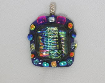 Large Cobalt Double dichroic pendant Fused Dichroic glass pendant Sterling Silver bail dichrodots sterling silver large focal pendant glass