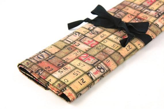 Large knitting needle case - Tape Measures - Multi 30 black pockets for straights, circulars and double points