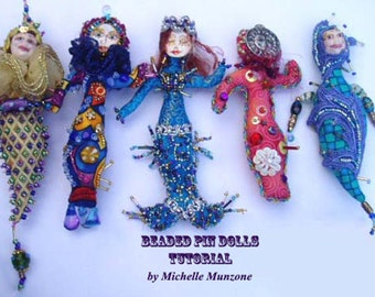 TUTORIAL- BEADED Pin Dolls, Workshop, Doll Making, Instructional, Cloth Doll Project, Jester Art Doll, Diy, Kids projects, Michelle Munzone