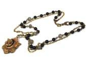 """MEMENTO Upcycled Festoon Necklace with Victorian Mourning Locket Soldier Cameo Jet Black Rosary Chain """"Altered Heirlooms"""" by Nouveau Motley"""