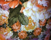 "54""  Orange Floral Print Jersey Knit fabric"