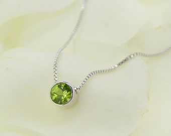 August Birthstone Necklace - Peridot Pendant - Fair Trade 6mm Peridot Gem - Sterling Silver - Handmade