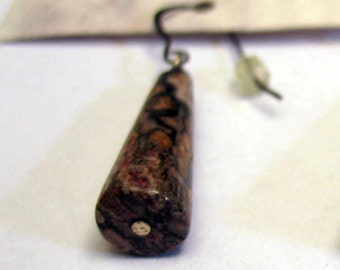 Handmade Leopardskin Jasper Cone Drop Earrings