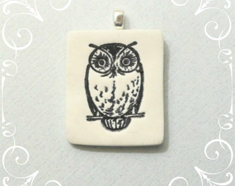 Owl Pendant Optional Necklace, Bird Jewelry, Wildlife Necklace, Woodland Jewelry, Nature Lover Gift, black and white, whimsical polymer clay