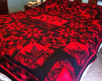 Queen Quilt - black and red queen Size - Bed Quilt - batik quilt, spanish inspired, Barcelona Nights, Salsa, Red and Black